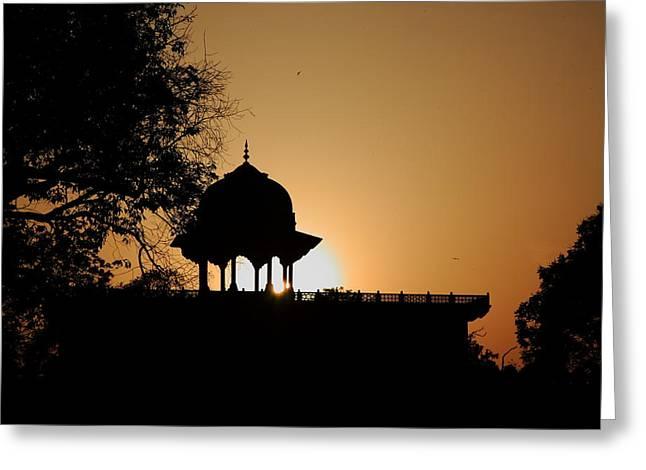 Moti Masjid At Sunset Greeting Card