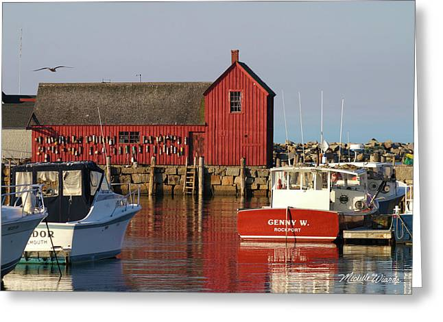 Motif No. 1 Reflections Rockport Massachusetts Greeting Card by Michelle Wiarda