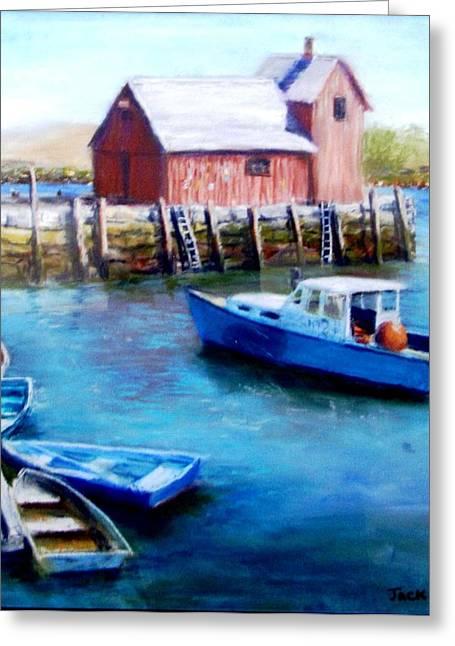 Motif One Rockport Harbor Greeting Card by Jack Skinner