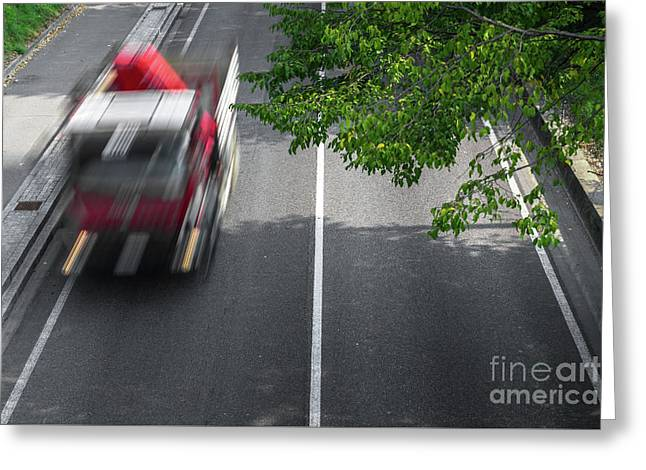Motion Blur Of Cars Over The Road Greeting Card
