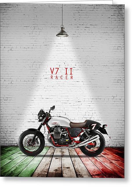 Moto Guzzi V7 Racer Greeting Card by Mark Rogan