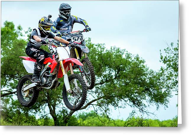 Greeting Card featuring the photograph Motocross Battle by David Morefield