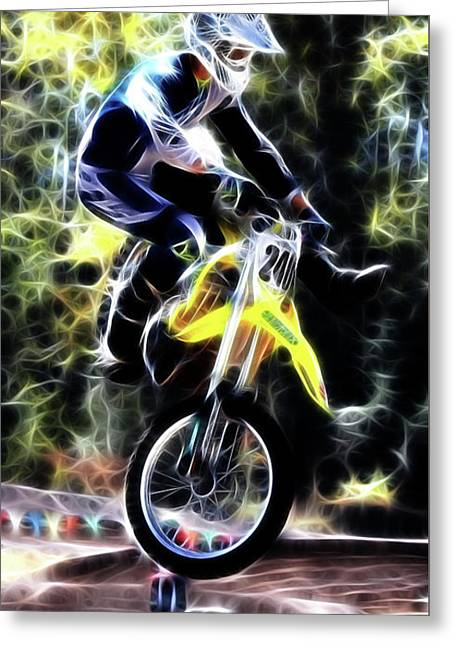 Motocross Jump Greeting Card by Athena Mckinzie