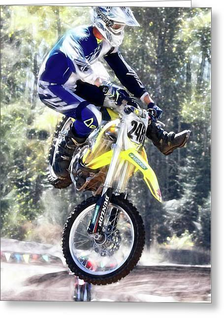 Motocross Jump II Greeting Card by Athena Mckinzie