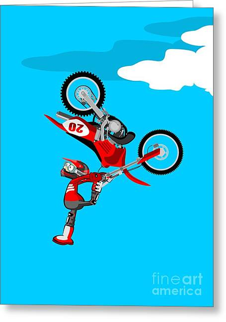 Motocross Rider In Spectacular Acrobatic Jump With His Red Bike Greeting Card