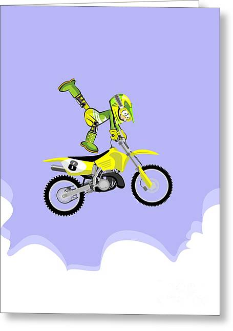 Motocross Rider Jumping In Freestyle With One Foot On The Seat Of His Yellow Motorcycle Greeting Card