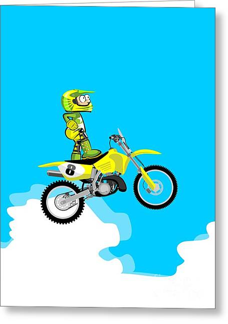 Motocross Rider Standing On His Yellow Motorcycle Greeting Card
