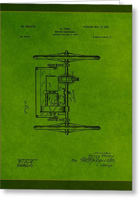 Motor Carriage Patent Drawing 1a Greeting Card by Brian Reaves