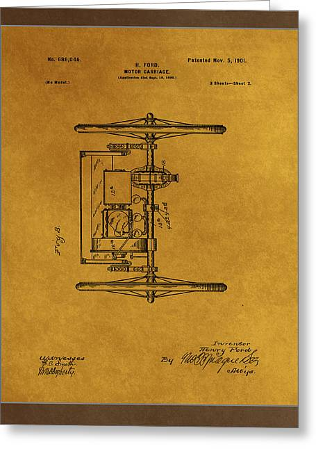 Motor Carriage Patent Drawing 1c Greeting Card by Brian Reaves