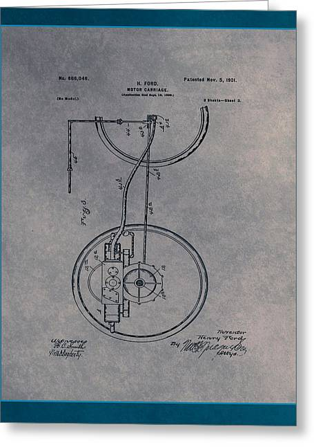 Motor Carriage Patent Drawing 2a Greeting Card by Brian Reaves