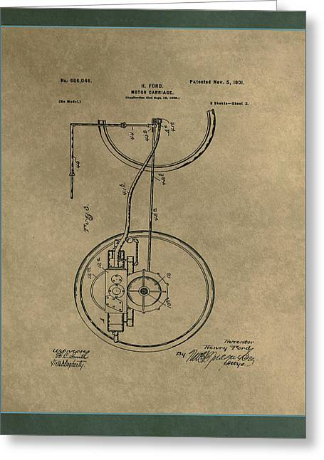 Motor Carriage Patent Drawing 2b Greeting Card by Brian Reaves