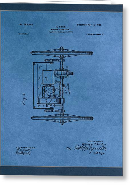 Motor Carriage Patent Drawing  Greeting Card by Brian Reaves