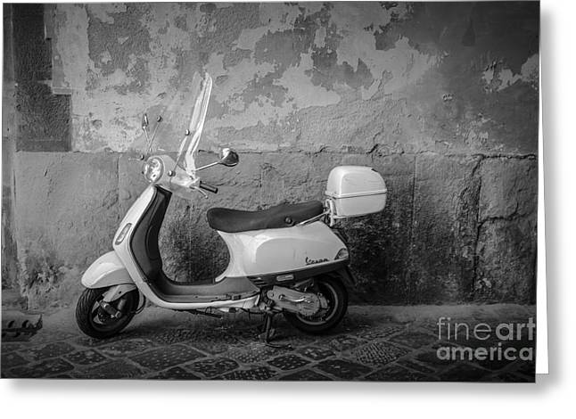 Motor Scooter In Italy Greeting Card by Edward Fielding