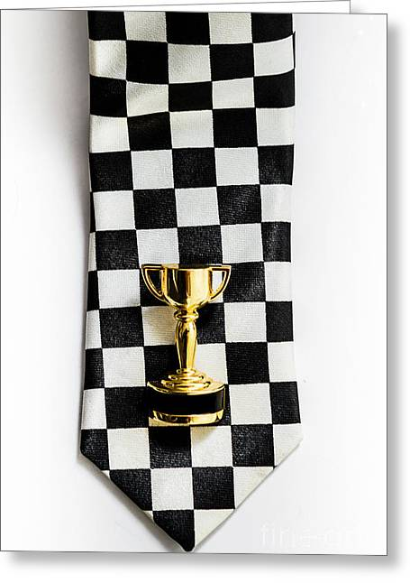 Motor Sport Racing Tie And Trophy Greeting Card by Jorgo Photography - Wall Art Gallery