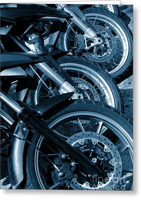 Motorbike Wheels Greeting Card by Carlos Caetano