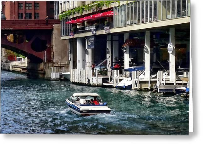 Motorboat Near Dearborn Street Bridge Greeting Card by Susan Savad