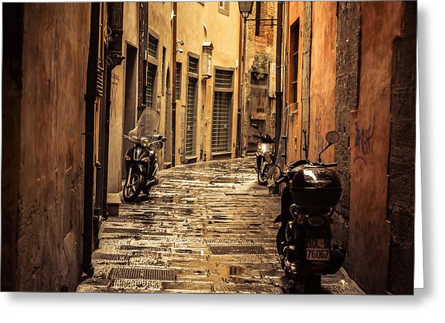 Motorcycle Alley Greeting Card by Chris Fletcher