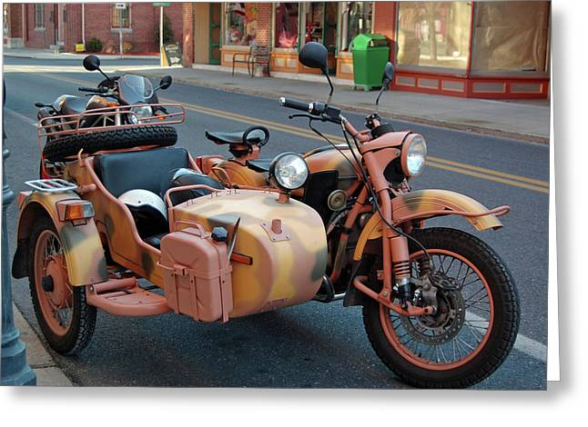 Motorcycle Sidecar Greeting Cards - Motorcycle and Sidecar Greeting Card by Joyce Huhra