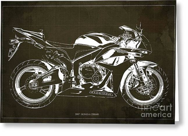 Motorcycle Blueprint Honda Cbr600 Gift For Him Gift For Her Greeting Card by Pablo Franchi