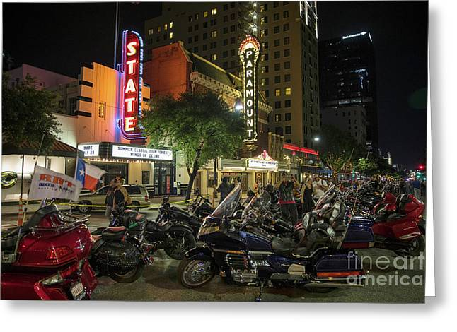 Motorcycle Enthusiasts Take Pictures Of Motorcycles On Congress Avenue During The Rot Biker Rally Greeting Card by Herronstock Prints