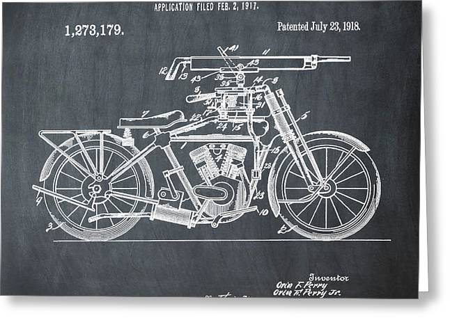 Motorcycle Machine Gun Patent 1918 In Chalk Greeting Card by Bill Cannon