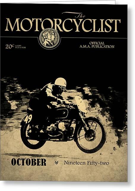 Motorcycle Magazine Bmw Racing Team 1952 Greeting Card