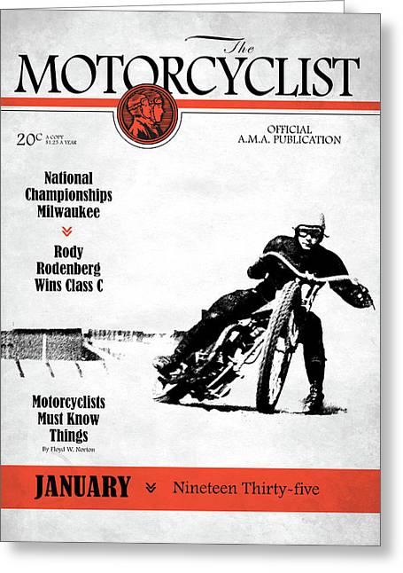 Motorcycle Magazine National Championship Milwaukee 1935 Greeting Card by Mark Rogan