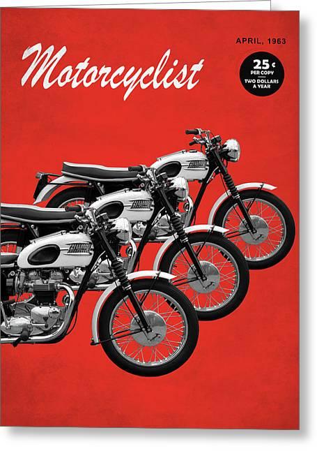 Motorcycle Magazine T120 Bonneville 1963 Greeting Card