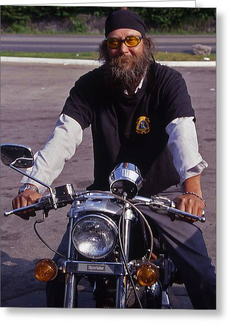 Motorcycle Minister Greeting Card by Randy Muir