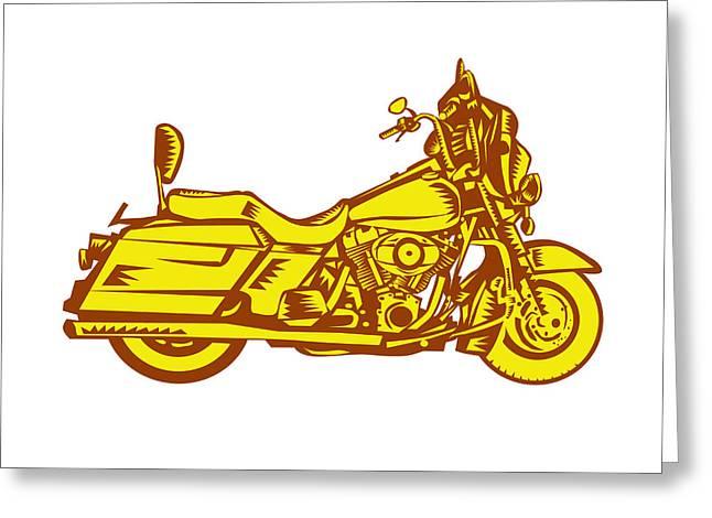 Motorcycle Motorbike Woodcut Greeting Card by Aloysius Patrimonio