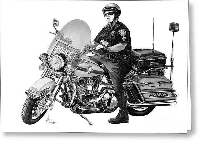 Motorcycle Police Officer Greeting Card by Murphy Elliott