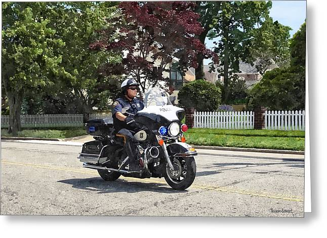 Motorcycle Police Officer Greeting Card by Susan Savad