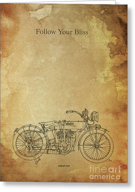 Motorcycle Quote. Follow Your Bliss. Poster For Bikers Greeting Card