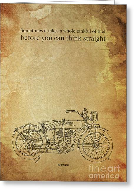 Motorcycle Quote. Sometimes It Takes A Whole Tank Of Fuel... Gift For Bikers Greeting Card
