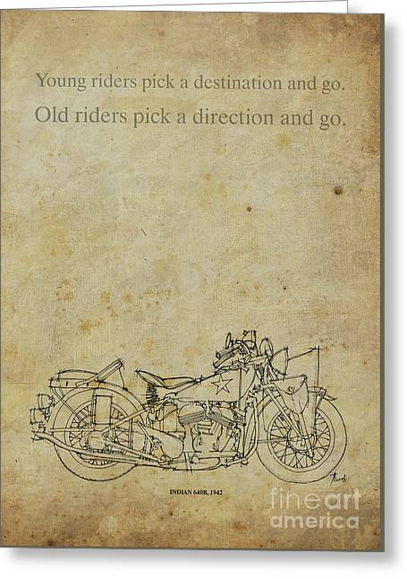 Motorcycle Quote. Young Riders Pick A Destination... Gift For Bikers Greeting Card