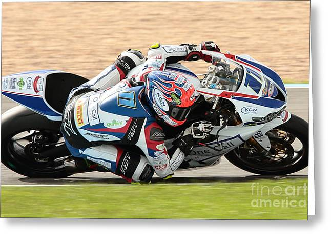 Motorcycle Racing Greeting Card by Peter Hatter