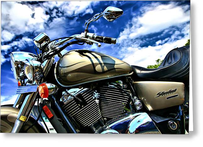 Motorcycle Shadow Sabre Greeting Card by Edward Myers
