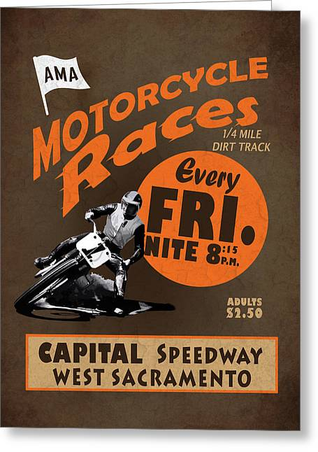 Motorcycle Speedway Races Greeting Card by Mark Rogan