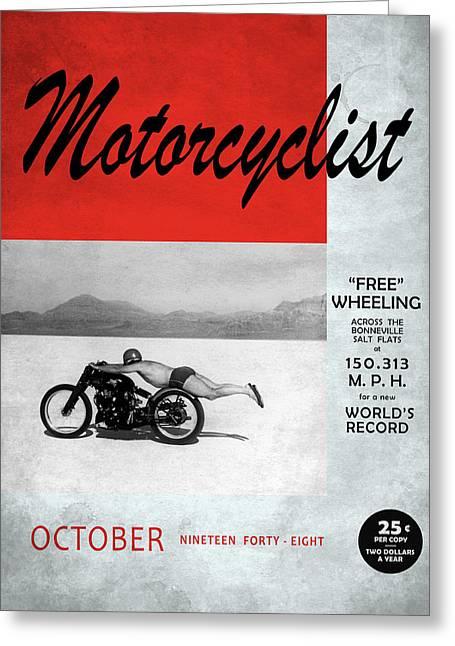 Motorcyclist Magazine - Rollie Free Greeting Card by Mark Rogan