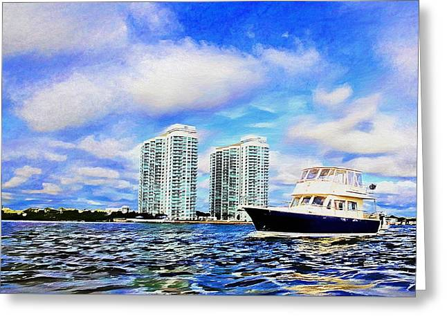 Motoring Past The Marina Grande Greeting Card by Alice Gipson