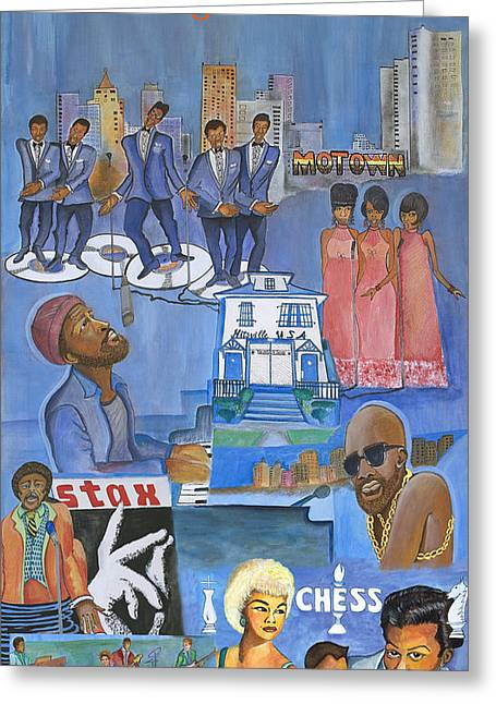 Oldies Greeting Cards - Motown Commemorative 50th Anniversary Greeting Card by Kenji Tanner