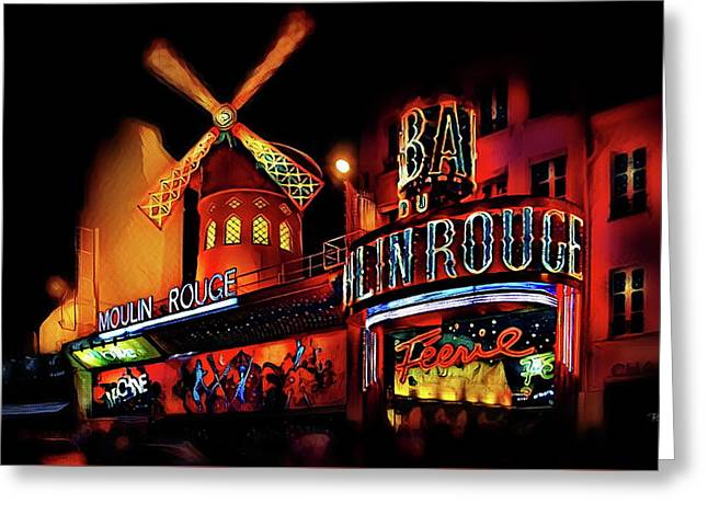 Moulin Rouge - The Red Mill Greeting Card by Russ Harris
