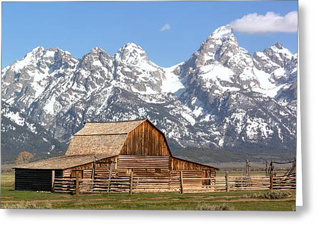 Moulton Barn Homestead Spring Panorama Greeting Card by Adam Jewell