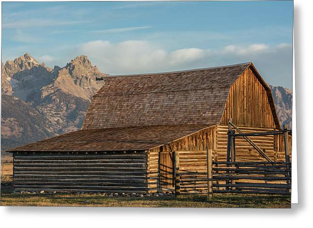 Greeting Card featuring the photograph Moulton Homestead - Barn At Morning Light by Colleen Coccia