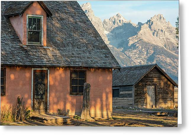 Greeting Card featuring the photograph Moulton Homestead - Pink House At Morning Light by Colleen Coccia