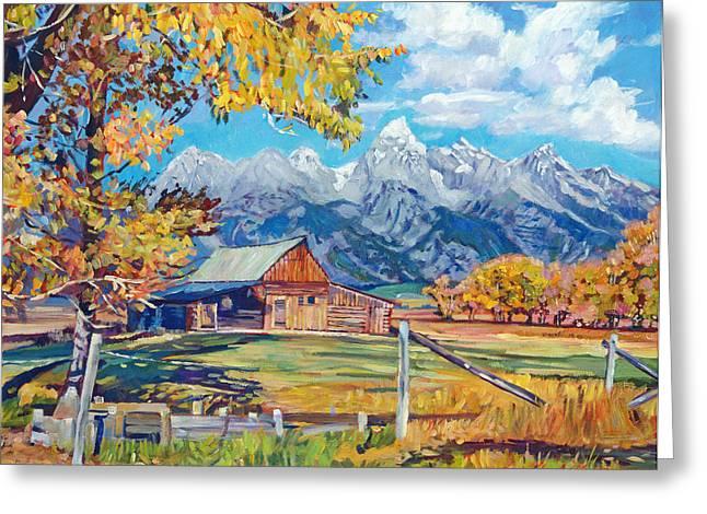 Jackson Hole Greeting Cards - Moultons Barn Grand Tetons Greeting Card by David Lloyd Glover