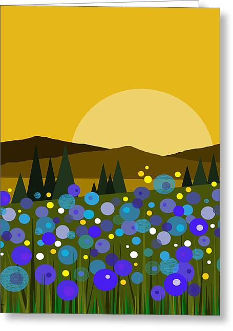 Mountain Meadow Sunrise And  Bluebells Greeting Card