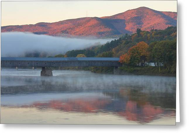 Connecticut River Greeting Cards - Mount Ascutney and Windsor Cornish Bridge Sunrise Fog Greeting Card by John Burk