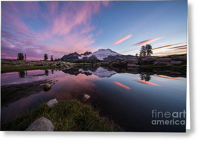 Mount Baker Dawns Colors Clarity Greeting Card by Mike Reid