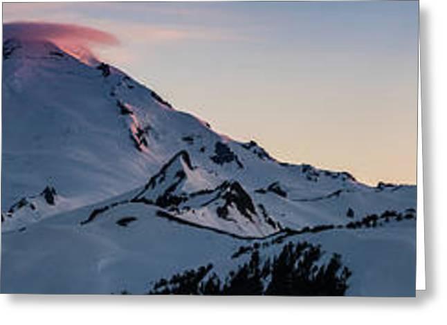 Mount Baker Dusk Panorama Greeting Card by Mike Reid